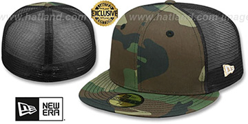 New Era MESH-BACK 59FIFTY-BLANK Army-Black Fitted Hat