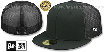 New Era MESH-BACK 59FIFTY-BLANK Black-Black Fitted Hat