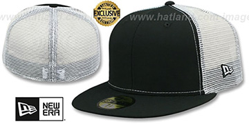 New Era MESH-BACK 59FIFTY-BLANK Black-White Fitted Hat