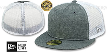 New Era MESH-BACK 59FIFTY-BLANK Charcoal ST-White Fitted Hat