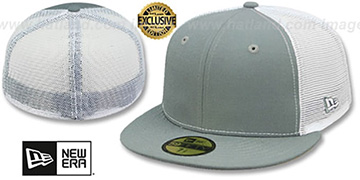 New Era MESH-BACK 59FIFTY-BLANK Grey-White Fitted Hat
