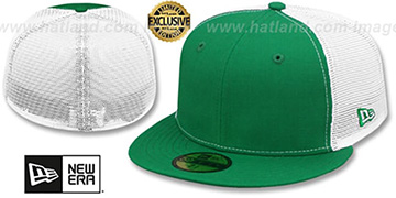 New Era 'MESH-BACK 59FIFTY-BLANK' Kelly-White Fitted Hat