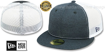 New Era MESH-BACK 59FIFTY-BLANK Navy Shadow Tech-White Fitted Hat