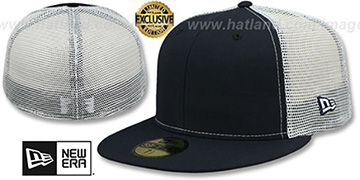 New Era MESH-BACK 59FIFTY-BLANK Navy-White Fitted Hat
