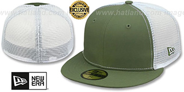 New Era MESH-BACK 59FIFTY-BLANK Olive-White Fitted Hat