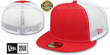 New Era MESH-BACK 59FIFTY-BLANK Red -White Fitted Hat