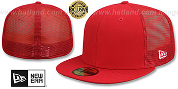 New Era 'MESH-BACK 59FIFTY-BLANK' Red-Red Fitted Hat