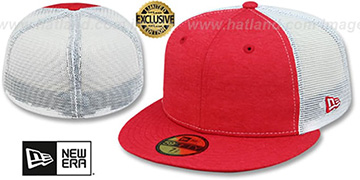New Era MESH-BACK 59FIFTY-BLANK Red Shadow Tech-White Fitted Hat