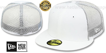 New Era MESH-BACK 59FIFTY-BLANK White-White Fitted Hat