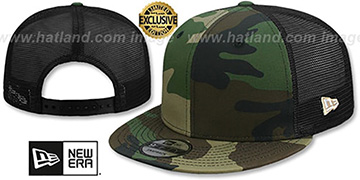 New Era MESH-BACK BLANK SNAPBACK Army-Black Adjustable Hat