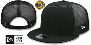 New Era 'MESH-BACK BLANK SNAPBACK' Black-Black Adjustable Hat