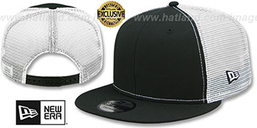 New Era MESH-BACK BLANK SNAPBACK Black-White Adjustable Hat