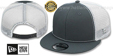 New Era 'MESH-BACK BLANK SNAPBACK' Charcoal-White Adjustable Hat