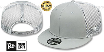 New Era MESH-BACK BLANK SNAPBACK Light Grey-White Adjustable Hat