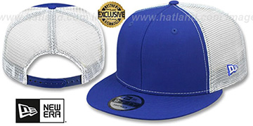 New Era 'MESH-BACK BLANK SNAPBACK' Royal-White Adjustable Hat