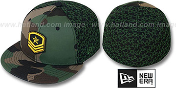 New Era 'MILITARY STAR' Camo-Black-Green Fitted Hat by New Era