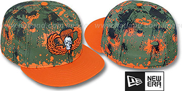 New Era 'PARA-CAMO SKULL' Orange-Olive Fitted Hat