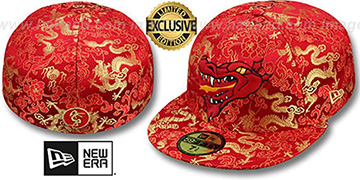 New Era 'SATIN DRAGON' Red Fitted Hat