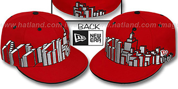 New York 'NYC BLOCK CITY-SKYLINE' Red Fitted Hat by New Era