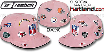NFL AFC ALL-OVER Pink Fitted Hat by Reebok
