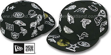 NFL 'ALL-OVER' Black-White Fitted Hat by New Era