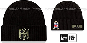 NFL Shield 2020 SALUTE-TO-SERVICE Black Knit Beanie Hat by New Era
