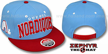Nordiques '2T SUPER-ARCH SNAPBACK' Sky-Red Hat by Zephyr
