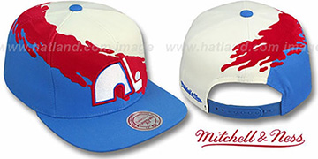 Nordiques PAINTBRUSH SNAPBACK White-Red-Sky Hat by Mitchell & Ness