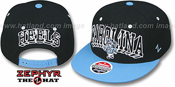 North Carolina '2T BLOCKBUSTER SNAPBACK' Black-Sky Hat by Zephyr
