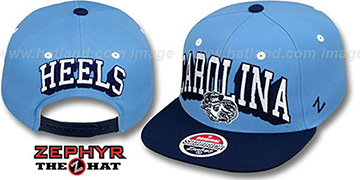 North Carolina '2T BLOCKBUSTER SNAPBACK' Sky-Navy Hat by Zephyr