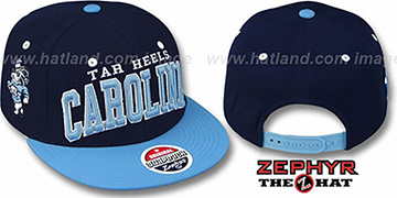 North Carolina '2T SUPER-ARCH SNAPBACK' Navy-Sky Hat by Zephyr