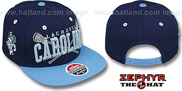 North Carolina LACROSSE SUPER-ARCH SNAPBACK Navy-Sky Hat by Zephyr