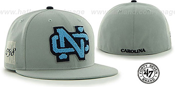 North Carolina 'NCAA CATERPILLAR' Grey Fitted Hat by 47 Brand