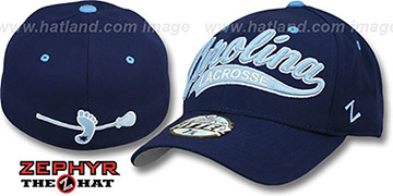 North Carolina 'SWOOP LACROSSE' Navy Fitted Hat by Zephyr