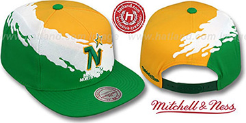North Stars 'PAINTBRUSH SNAPBACK' Gold-White-Green Hat by Mitchell & Ness