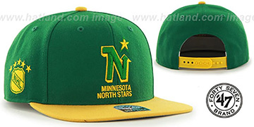 North Stars 'SURE-SHOT SNAPBACK' Green-Gold Hat by Twins 47 Brand
