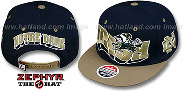 Notre Dame 2T FLASHBACK SNAPBACK Navy-Gold Hat by Zephyr