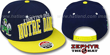 Notre Dame '2T SUPER-ARCH SNAPBACK' Navy-Gold Hat by Zephyr
