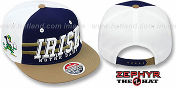 Notre Dame 2T SUPERSONIC SNAPBACK Navy-Gold Hat by Zephyr