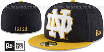 Notre Dame 'HEATHER-HUGE 2' Navy-Gold Fitted Hat by New Era