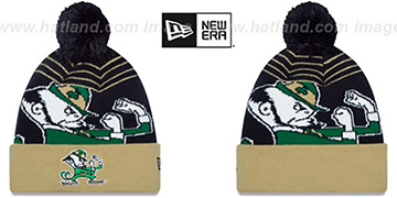Notre Dame 'LOGO WHIZ' Navy-Gold Knit Beanie Hat by New Era