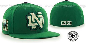 Notre Dame NCAA CATERPILLAR Green Fitted Hat by 47 Brand