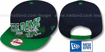 Notre Dame STILL ANGLIN SNAPBACK Navy-Green Hat by New Era