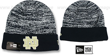 Notre Dame 'TEAM-RAPID' Navy-White Knit Beanie Hat by New Era