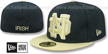 Notre Dame HEATHER-HUGE Navy-Gold Fitted Hat by New Era