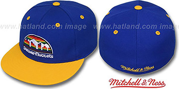Nuggets '2T CLASSIC THROWBACK' Royal-Gold Fitted Hat by Mitchell & Ness