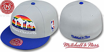 Nuggets '2T XL-LOGO' Grey-Royal Fitted Hat by Mitchell & Ness