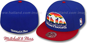 Nuggets '2T XL-LOGO' Royal-Red Fitted Hat by Mitchell & Ness