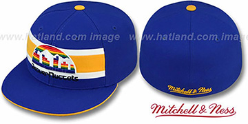 Nuggets HARDWOOD TIMEOUT Royal Fitted Hat by Mitchell & Ness