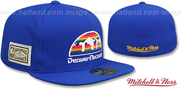 Nuggets HWC SIDE-PATCH Royal Fitted Hat by Mitchell and Ness